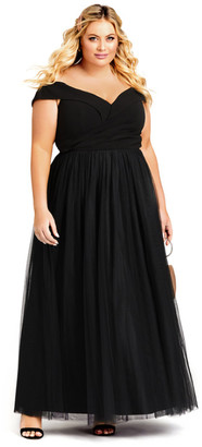 City Chic Rippled Tulle Maxi Dress - onyx