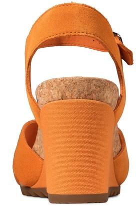 Clarks Flex Sun Leather Ankle Strap Wedge Sandal - Amber