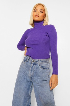 boohoo Petite Rib Knitted Roll Neck Jumper