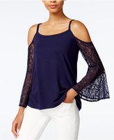 Kensie Cold-Shoulder Lace-Sleeve Top