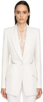 Alexander McQueen Leaf Viscose Blend Crepe & Lace Jacket
