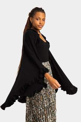 francesca's Paige Ruffle Kimono - Black