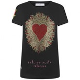 Philipp Plein Philipp PleinGirls Black Diamante Heart Top