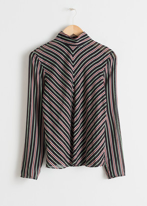 And other stories Sheer Chevron Stripe Top