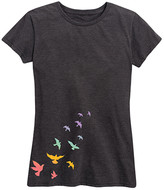Instant Message Women's Women's Tee Shirts HEATHER - Heather Charcoal Birds Relaxed-Fit Tee - Women & Plus