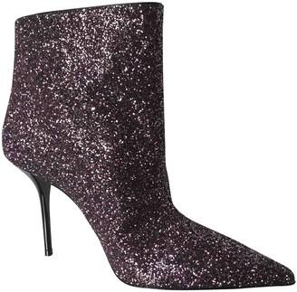 Saint Laurent Purple Glitter Ankle boots
