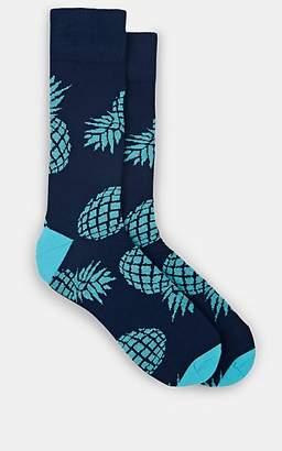 Corgi Men's Pineapple-Motif Stretch-Cotton Mid-Calf Socks - Navy