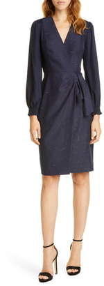 Rebecca Taylor Tailored by Crosshatch Pattern Long Sleeve Faux Wrap Dress