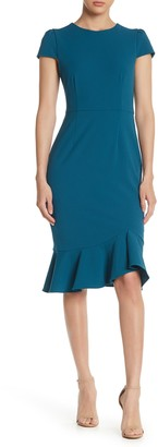 Betsey Johnson Scuba Crepe Ruffle Hem Midi Dress