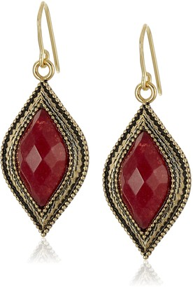 """Barse Cleopatra"""" Bronze and Faceted Bordeaux Quartz French Wire Drop Earrings"""