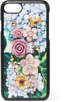 Dolce & Gabbana Embellished Floral-print Textured-leather Iphone 7 Case
