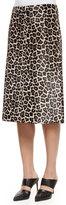 Theory Midi L. Sahara Printed Skirt, Ivory/Gray