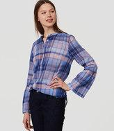 LOFT Plaid Bell Sleeve Softened Shirt