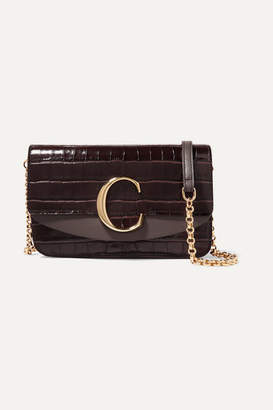 Chloé C Mini Croc-effect And Smooth Leather Shoulder Bag - Dark brown