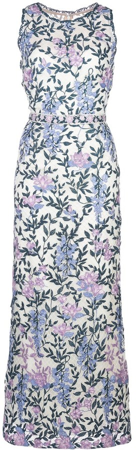 Marchesa Notte Floral-Embroidered Dress