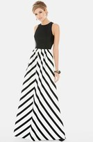 Alfred Sung Women's Stripe Skirt Sleeveless Sateen Twill Gown