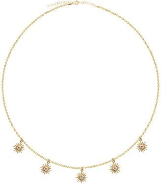 GABIRIELLE JEWELRY Yellow Gold Vermeil CZ Dangling Sun Shaker Necklace