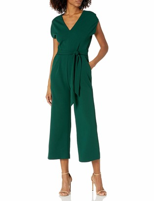 London Times Women's Solid Jumpsuit self Waist tie v-Neck Side Pockets