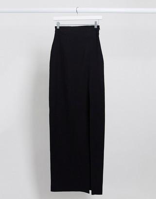 Vesper thigh split maxi skirt co ord in black