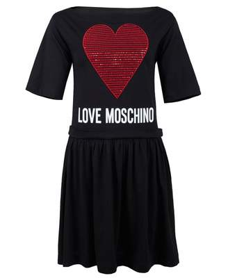 Love Moschino Sequin Heart Swing Dress Colour: BLACK, Size: 10