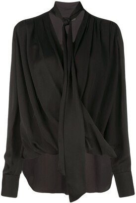 Derek Lam Oversized Long Sleeve Draped Georgette Wrap Blouse with Neck Ties