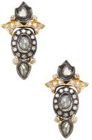 Artisan 18K Gold & 0.89 Total Ct. Diamond Floral Stud Earrings