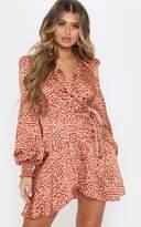 PrettyLittleThing Red Satin Leopard Print Wrap Frill Hem Shift Dress