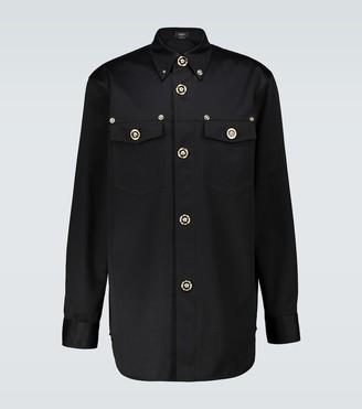 Versace Long-sleeved cotton twill shirt