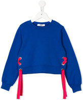 MSGM lace-up detail sweatshirt - kids - Cotton - 10 yrs