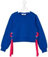 MSGM lace-up detail sweatshirt - kids - Cotton - 6 yrs