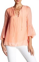 Luma Lace-Up Bell Sleeve Silk Blouse