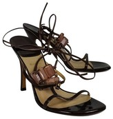 Stuart Weitzman Brown Patent Leather Strappy Sandals