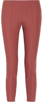 Theory Alettah Cropped Stretch Cotton-blend Tapered Pants - Antique rose