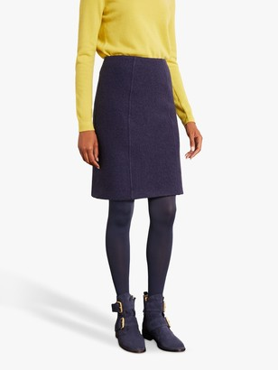 Boden Poppy Wool A-Line Skirt, Navy