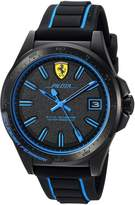 Ferrari Men's 'Pilota' Quartz Stainless Steel and Rubber Casual Watch, Color: (Model: 830423)