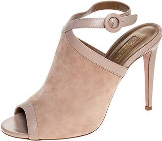 Aquazzura Aquazurra Beige Suede And Leather Trim Eddie 105 Open Toe Ankle Strap Sandals Size 40