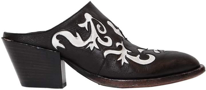 Elena Iachi 50mm Cowboy Leather Mules
