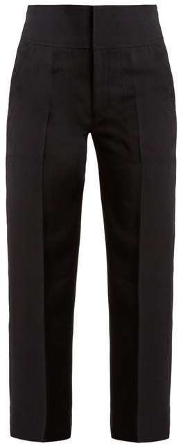 Muveil High Rise Lace Up Detail Cropped Trousers - Womens - Navy