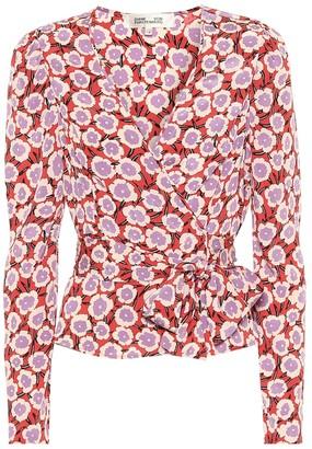 Diane von Furstenberg Alexia floral silk wrap top