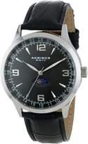 Akribos XXIV Men's AK637SSB Retro Swiss Dial Stainless Steel Leather Strap Watch