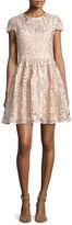 Alice + Olivia Gracia Cap-Sleeve Lace Cocktail Dress, Light Pink