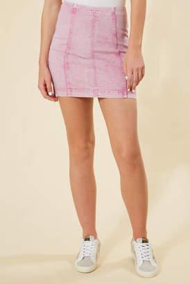 Free People Modern Femme Pink Acid Wash Denim Skirt Pink Multi 0