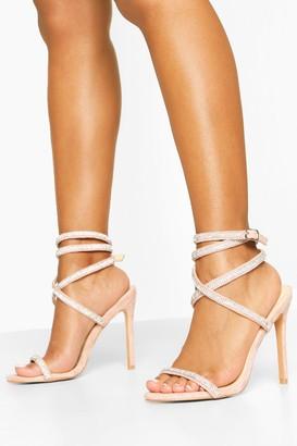 boohoo Embellished Wrap Strap Stiletto Heel Sandals