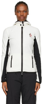 MONCLER GRENOBLE White and Black Hooded Cardigan Jacket
