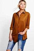 Boohoo Sophia Embroidered Collar Suedette Shirt