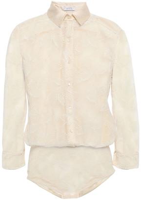 Eres Farniente Dolce Vita Satin-trimmed Leavers Lace Bodysuit