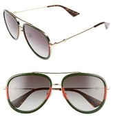 Gucci Women's 57Mm Aviator Sunglasses - Black/ Gold