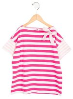 Il Gufo Girls' Bow-Embellished Striped Top