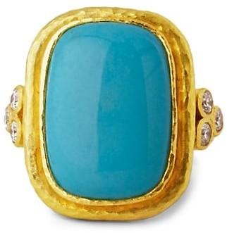Elizabeth Locke Stone 19K Yellow Gold, Sleeping Beauty Turquoise & Diamond Large Ring