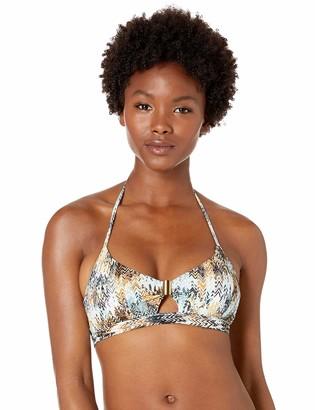 BCBGMAXAZRIA Women's Trim Detail V-Neck Halter Bikini Top